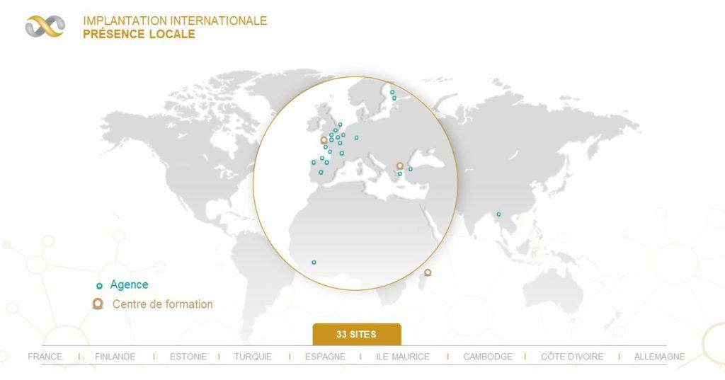 carte d'implantation du réseau